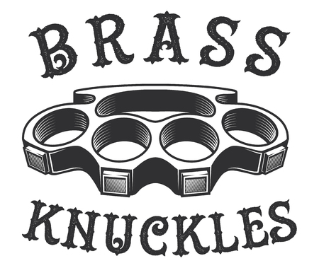 Bruss knuckles vector illustration on white background. Text is on the separate layer.  イラスト・ベクター素材