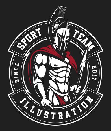 Guerriero spartano. Design del logo Archivio Fotografico - 97469349