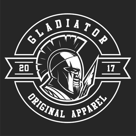 Emblem of gladiator with a spear