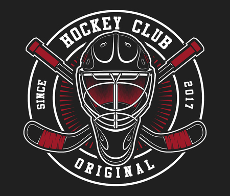 Hockey helmet with sticks on dark black background. Text is on the separate layer.