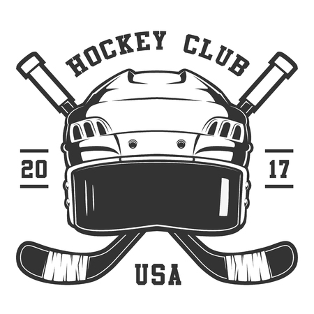 Hockey helmet on white background. Text is on the seprate layer. Illustration
