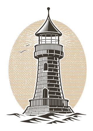 lighthouse engraving vector illustration on white background