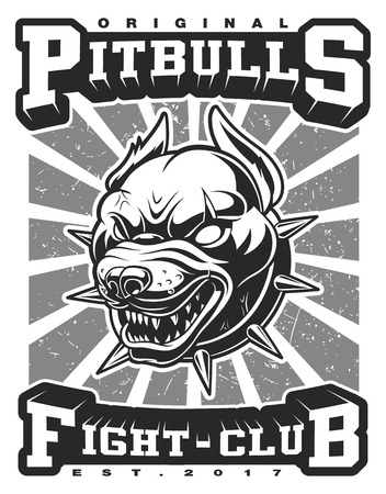 Pitbull vector illustration on white. Text is on the separate layer.