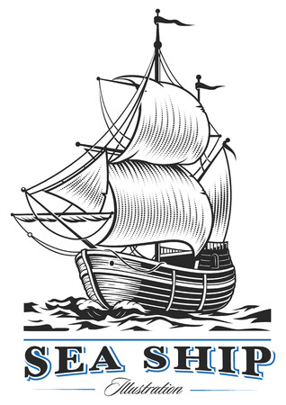 Vintage sea ship on white background. Text is on the separate layer.