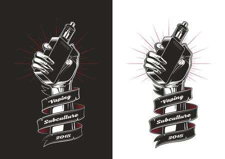 Hand with electronic cigarette, Vintage illustration, Vaping illustration