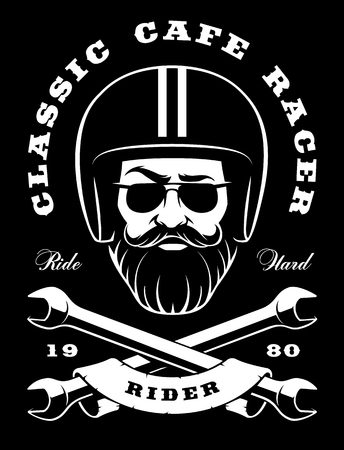 Illustration of biker-hipster with stylish beard and crossed wrenches.
