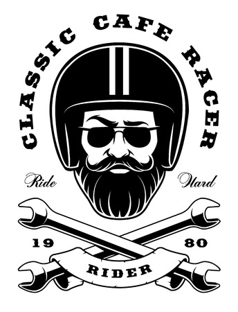Illustration of biker-hipster with beard and crossed wrenches (version on the white background). Text is on the separate layer. Illustration