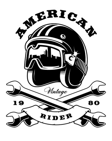 Illustration of biker helmet with crossed wrenches