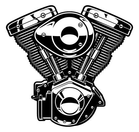 Monochrome engine of motorcycle, isolated on white background. Illustration
