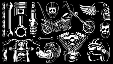 Set of 14 monochrome elements of motorcycle. Vintage style Vector illustration.