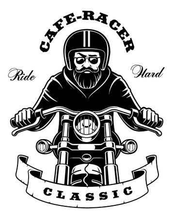 Illustration of a rider on a motorcycle with beard and goggles. Text is on white background. Vector illustration.