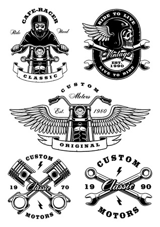Set with vintage biker illustrations, badges, t-shirt designs. Isolated. Text is on the separate layer.(VERSION ON WHITE BACKGROUND)