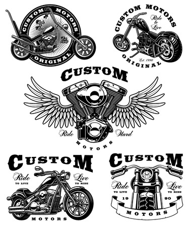 Set of vintage biker emblems with different motorcycles and engine with wings. All elements is on the separate layer. Çizim