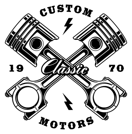Illustration of vintage crossed steel pistons. Text is on the separate layer.