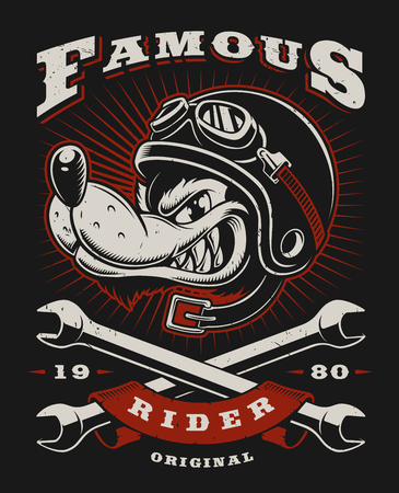 Cartoon wolf biker illustration on dark background. All elements is on the separate layer.