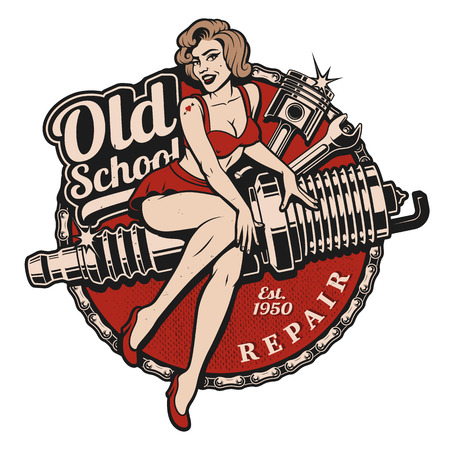 Spark Plug Pin Up Girl illustration with piston and wrench. Vintage style.  All elements, text are on the separate layer.