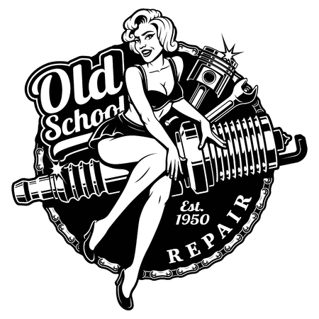Spark Plug Pin Up Girl illustration with piston and wrench. Vintage style. Stock Illustratie