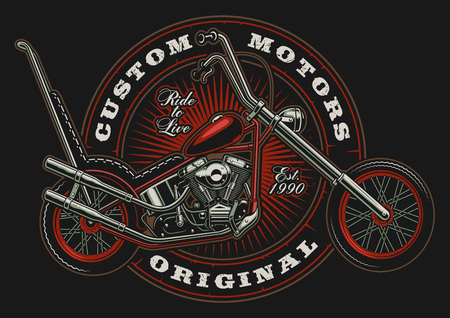 Illustration with american motorcycle on dark background in circle. All elements are on the separate layer. Иллюстрация