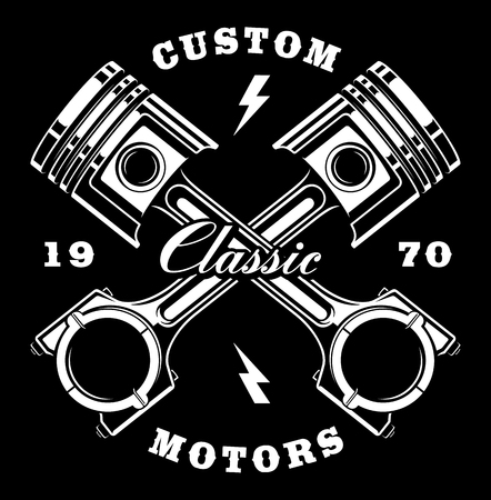 Illustration of vintage crossed pistons. Vintage style (VERSION FOR DARK BACKGROUND). Text is on the separate layer.