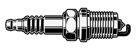 Monochrome illustration of spark plug on white background.