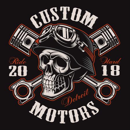 Biker skull with crossed pistons. Stock Illustratie