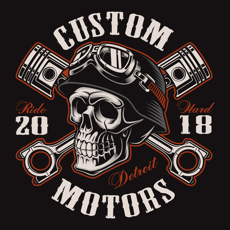 Biker skull with crossed pistons. Иллюстрация