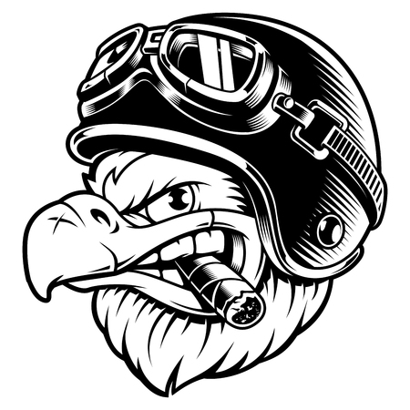Monochrome version of American eagle with cigar. Illustration