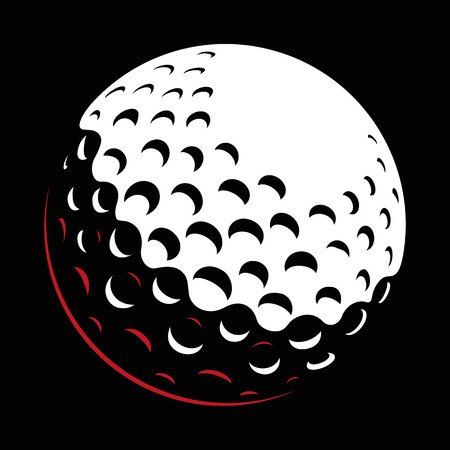 Golf ball vector on dark background.