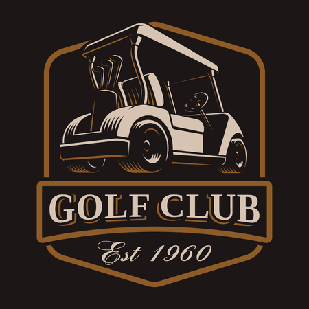 Golf cart vector emblem on dark background.
