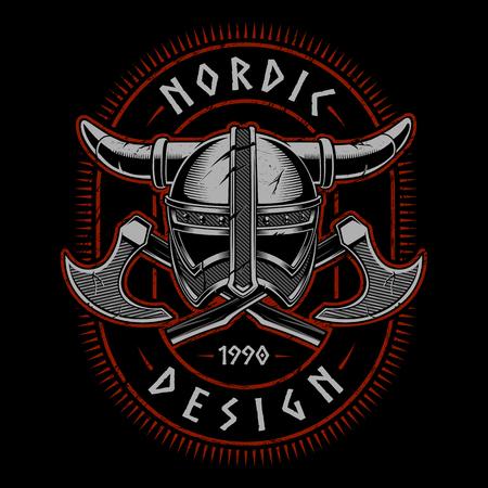 Viking helmet with axes vector illustration on dark background.