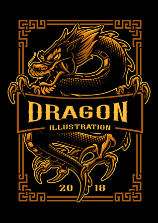 Asian dragon in gold vector illustration.