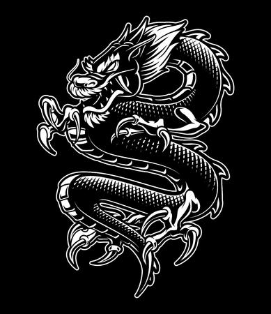 Japanse draak vectorillustratie in zwart-wit ontwerp, geïsoleerd op donkere achtergrond.