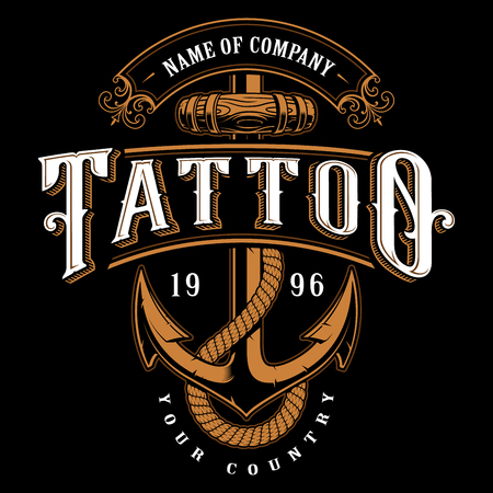 Tattoo lettering illustration with anchor. Logo template, design, shirt graphic on black background.