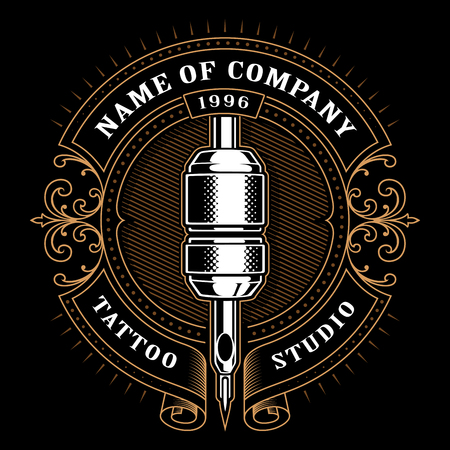 Tattoo studio logo template. Vintage style frame with tattoo machine.