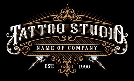 Tattoo lettering in retro style frame on black background. Stock Illustratie