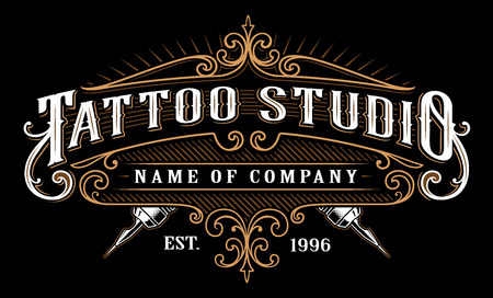 Tattoo lettering in retro style frame on black background. Иллюстрация