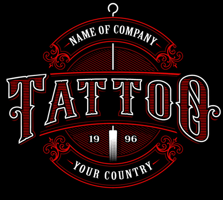 Vintage tattoo lettering illustration in red color on black background.