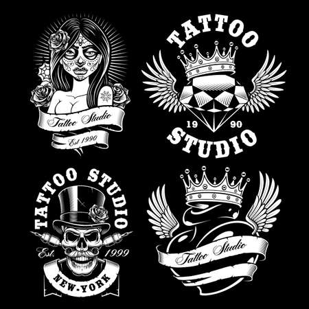 Set of black and white tattoo emblems, isolated on dark background. Text is on the separate layer.