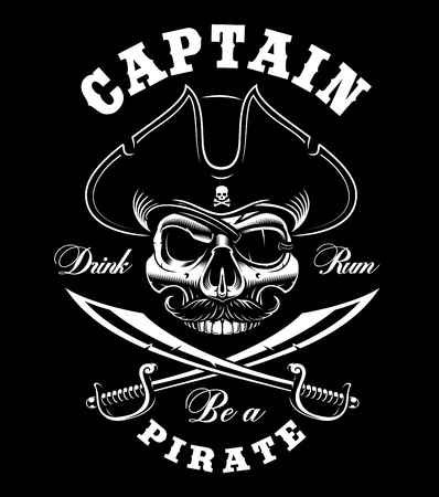 Vintage Pirate skull on dark background. Vector illustration. Text is on the separate layer.