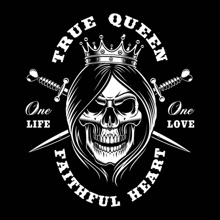 Queen skull, vector illustration. Shirt design on dark background. Text is on the separate group.