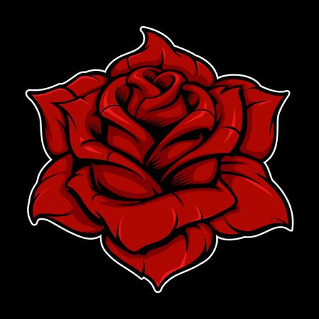 Vintage rose on dark background. (color version)