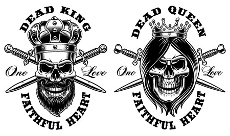 Set of skulls king and queen. Vector illustration. All elements, text are on the separate group. Stock Illustratie