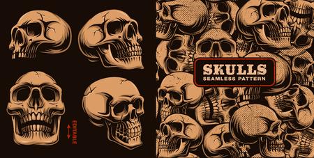 Set of different skulls with seamless pattern on dark background. 免版税图像 - 98120185
