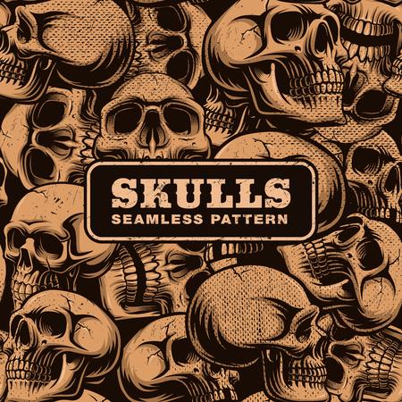 Grunge seamless pattern with skulls.