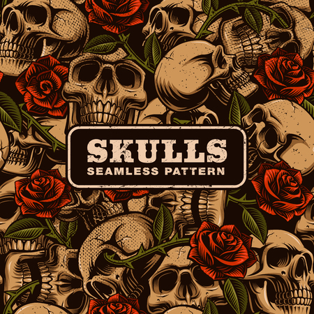 Skull with roses seamless pattern. Tattoo seamless texture. Perfect for textile design. Ilustrace