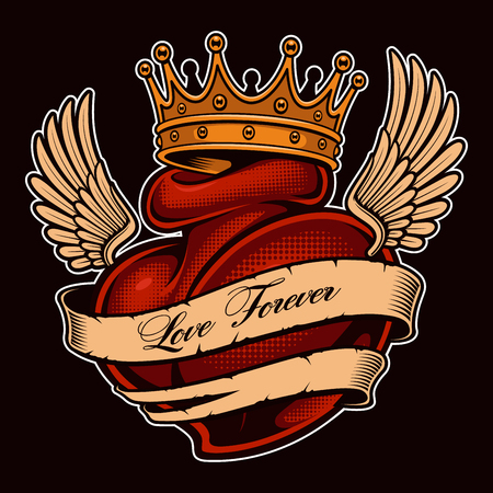 Tattoo heart with wings in crown. Chicano tattoo, graphic design for shirts. All elements, text, colors are on the separate layers. (COLOR VERSION)