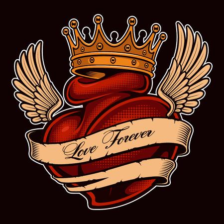 Tattoo hart met vleugels in de kroon. Chicano-tatoeage, grafisch ontwerp voor shirts. Alle elementen, tekst, kleuren bevinden zich op de afzonderlijke lagen. (KLEURENVERSIE)