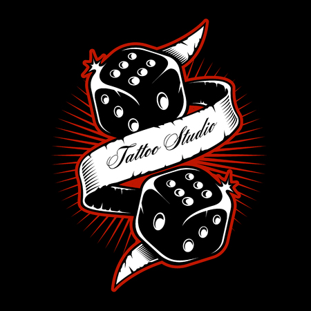 Old scholl dice tattoo design on dark background. Illustration