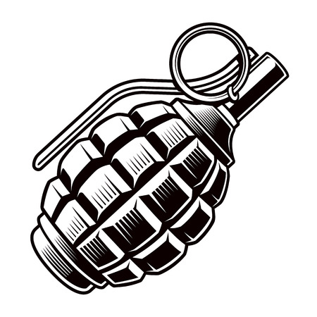 Grenade vector black and white illustration.