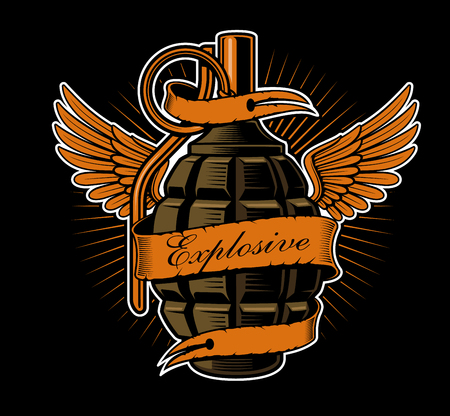 Grenade with wings. Tattoo art, shirt graphic. All elements, color, text are on the separate layers. Illustration